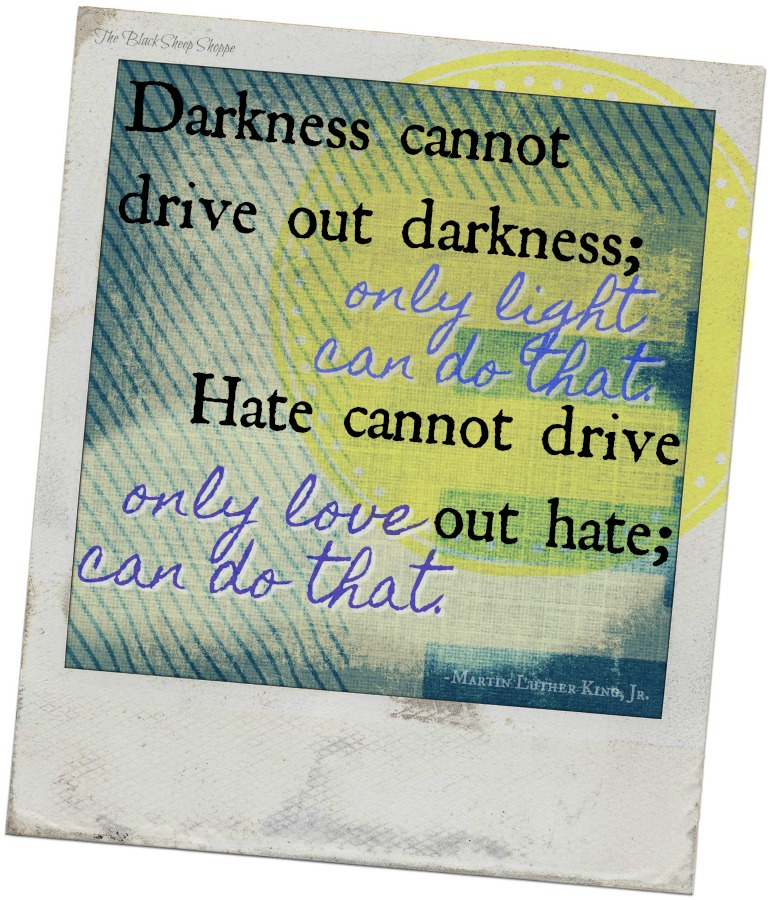 Darkness cannot drive out darkness; only light can do that.  Hate cannot drive out hate; only love can do that. -Martin Luther King, Jr.