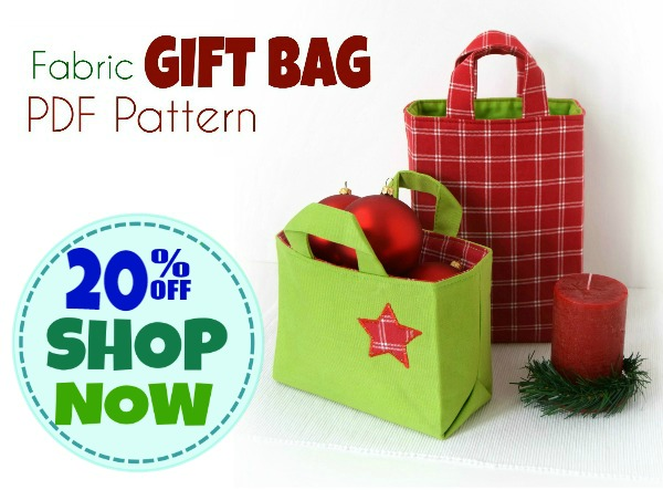 Fabric Gift Bag PDF PATTERN - new release 20 Percent OFF