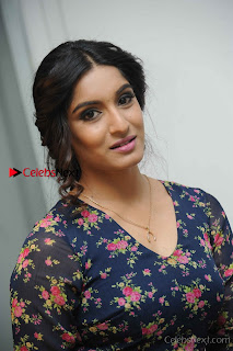 Kannada Actress Krushi Stills in Floral Blue Dress at IRA Movie Press Meet  0003.jpg