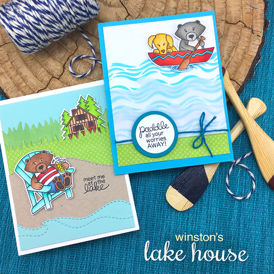 Lake Cards by Jennifer Jackson | Winston's Lake House Stamp set by Newton's Nook Designs  #newtonsnook
