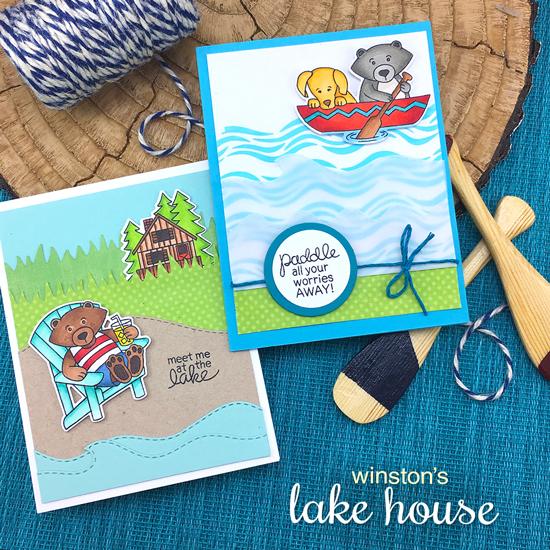 Lake Cards by Jennifer Jackson | Winston's Lake House Stamp set by Newton's Nook Designs  #newtonsnook