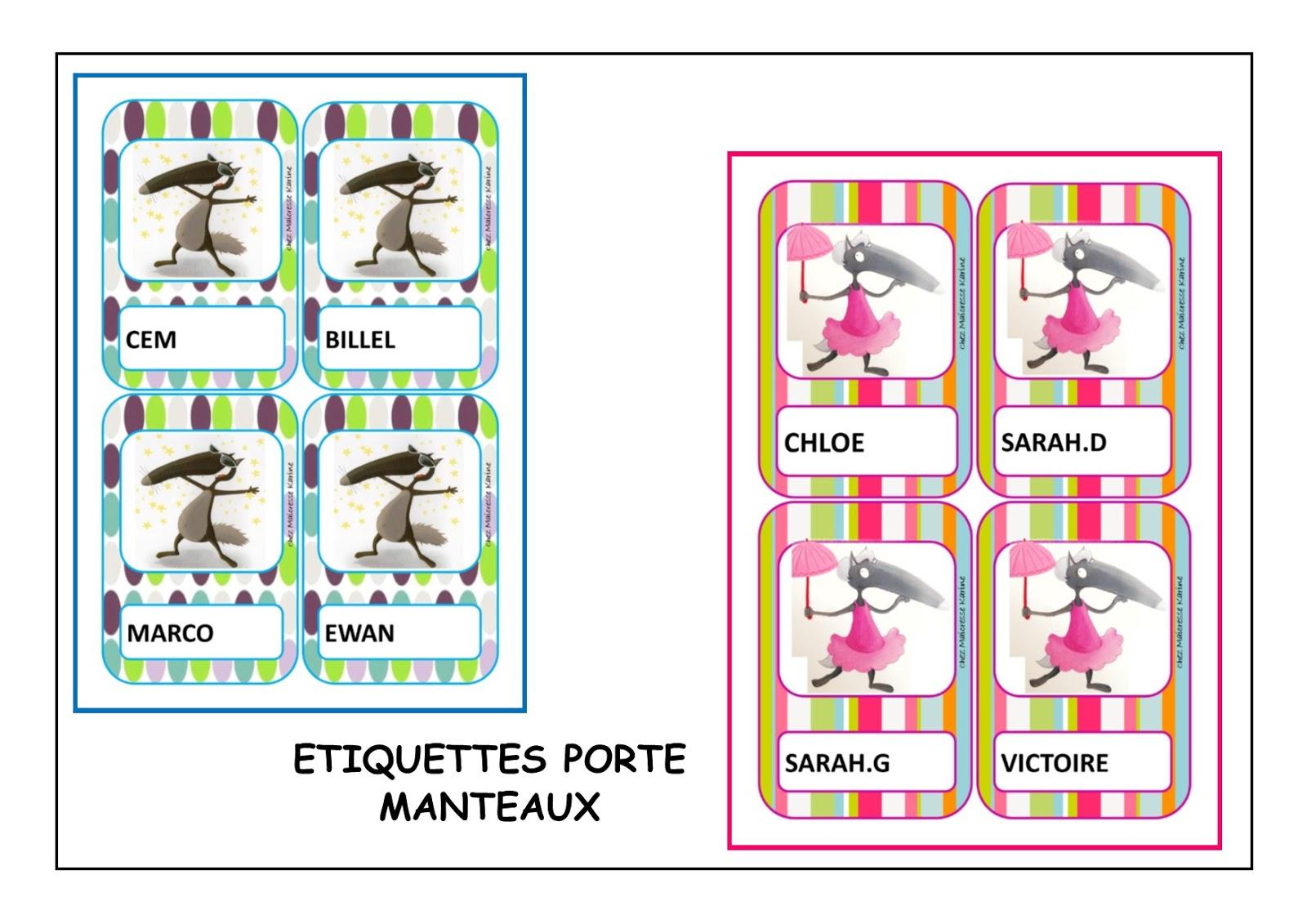 Chez maicresse karine etiquettes porte manteaux - Etiquette porte manteau maternelle imprimer ...