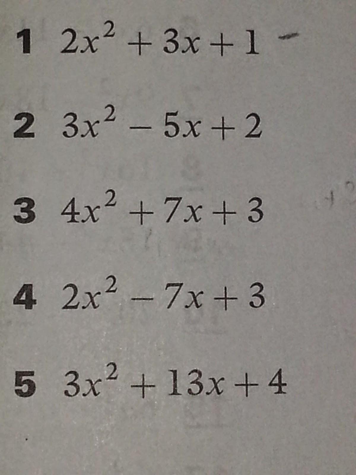 Math 10 Chapter 3 Solution Of Quadratic Equations