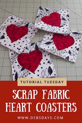Scrap Fabric Heart Drink Coasters Sewing Project