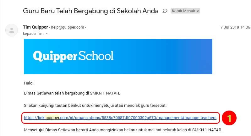 aktivasi akun Guru di quipper school oleh admin sekolah