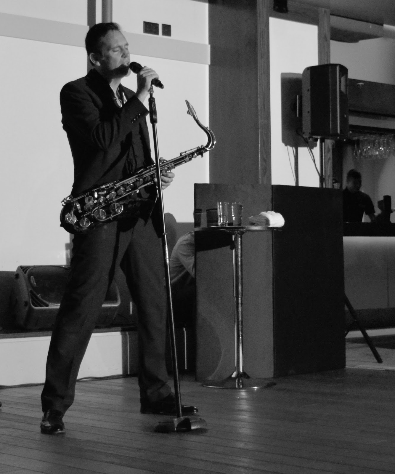 A grown-up date night at Doubletree by Hilton Newcastle Airport with a night of swing and sax with Jason Isaacs in the function room.