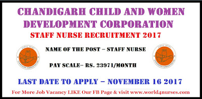 Chandigarh Child and Women Development Corporation Staff Nurse Recruitment 2017