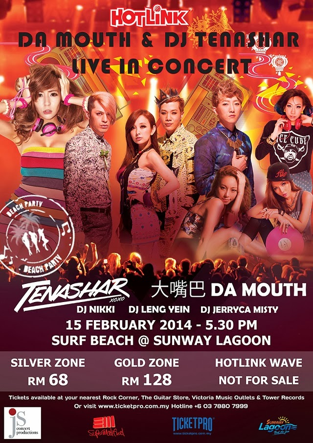 VIP Tickets Giveaway To Hotlink 4G Da Mouth & DJ Tenashar Concert Sunway Lagoon
