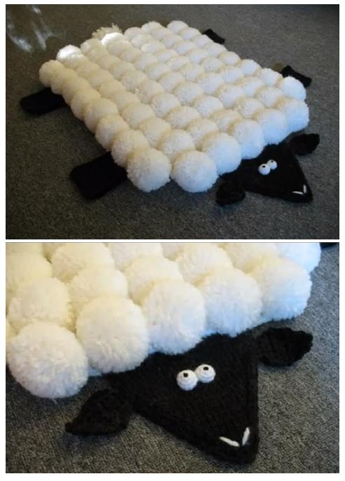alfombra infantil, alfombra pompones, patrones crochet