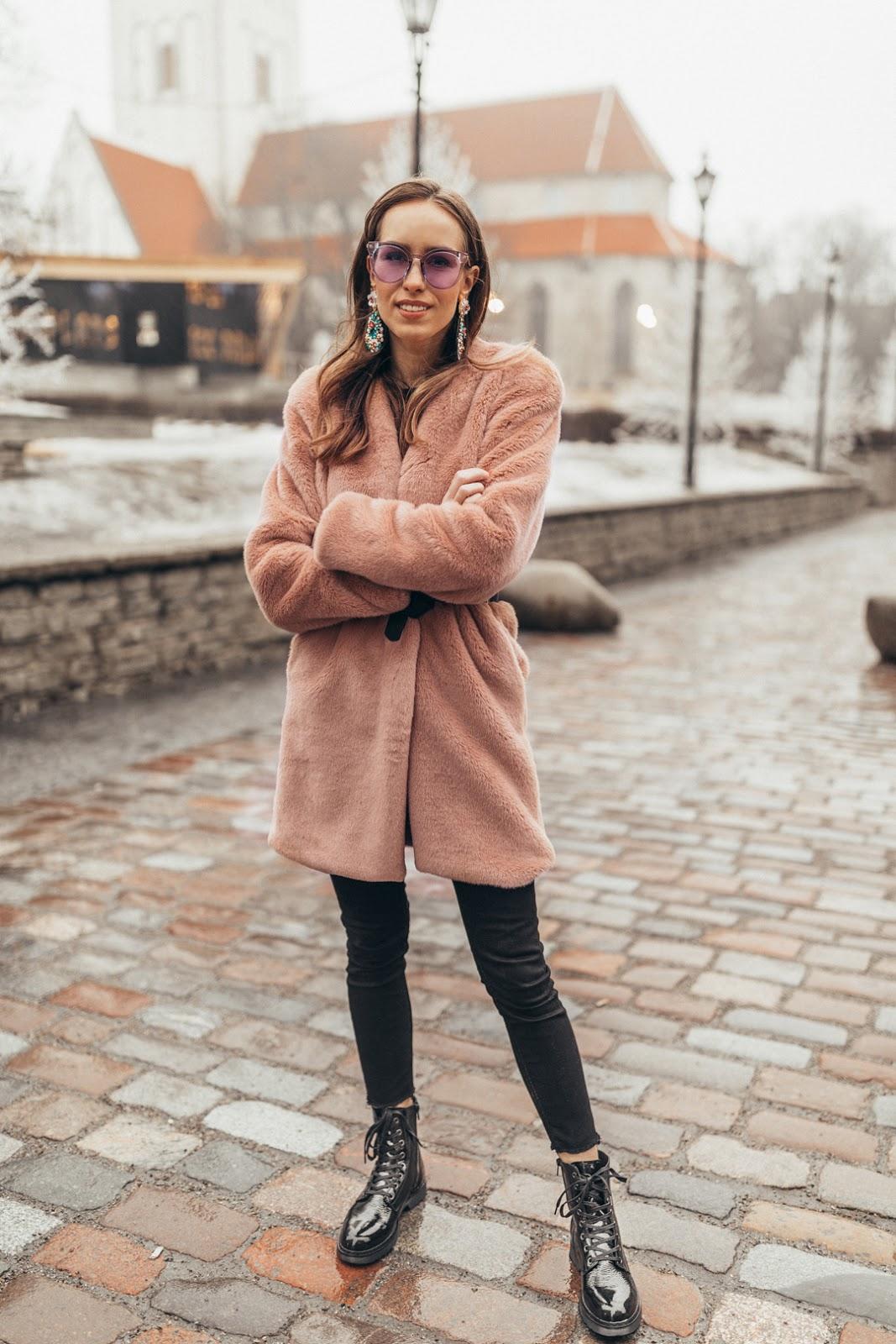 pink fur coat black patent combat boots outfit
