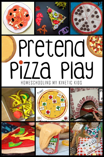 Pretend Pizza Play for National Pizza Day // Homeschooling My Kinetic Kids // 16 ways to play pretend and learn with pizza.  Celebrate National Pizza Day (Feb 9) with play!  So many ideas from DIY felt play food to pizza sauce slime to paper toppings kids can make themselves.  Learn fractions, money, patterning, and more with pizza!