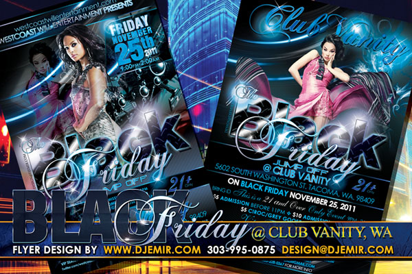 Black Friday At Club Vanity Tacoma Washington Flyer