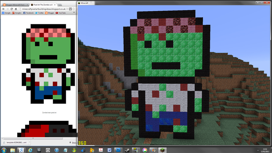 Pixel art the zombie collection minecraft pixel art for Zombie build
