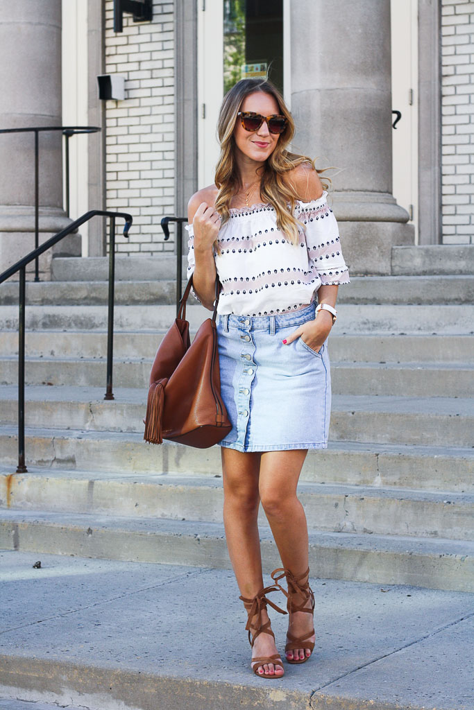 4c590e71c Denim Skirt and an Off the Shoulder Top - Twenties Girl Style