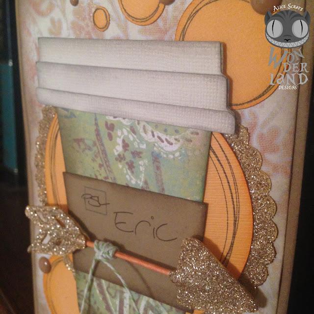 card, card making, handmade, scrapbooking, coffee, Starbucks, Pumpkin Spice Latte, glitter, autumn, fall, arrow, distress ink