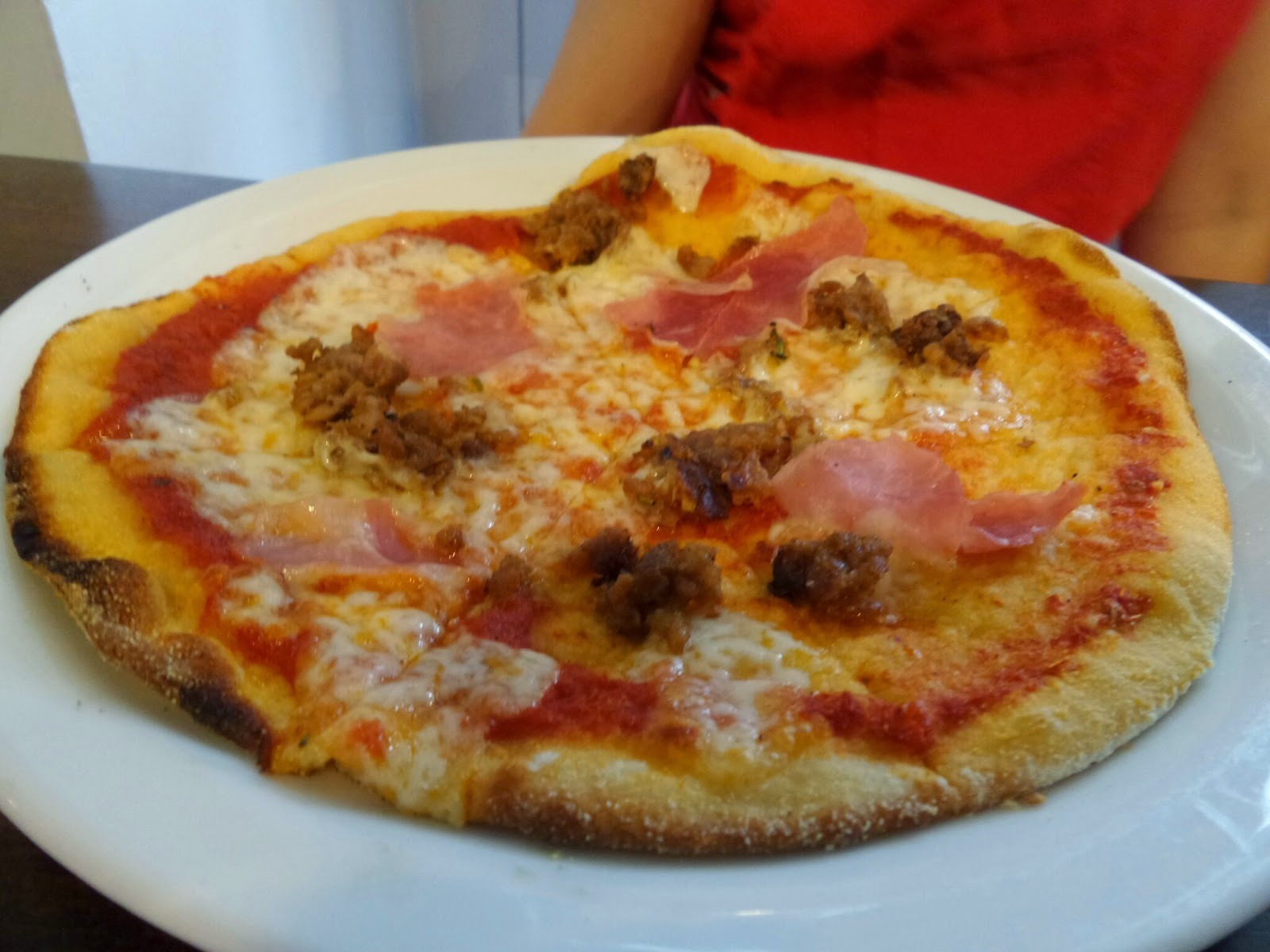 Zizzi's Bambini Pizza with Ham and Sausage Meat