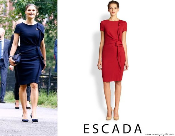 Crown Princess Victoria wore Escada dirtes ruffled wool dress