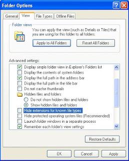 Cara menampilkan hidden file folder di windows XP