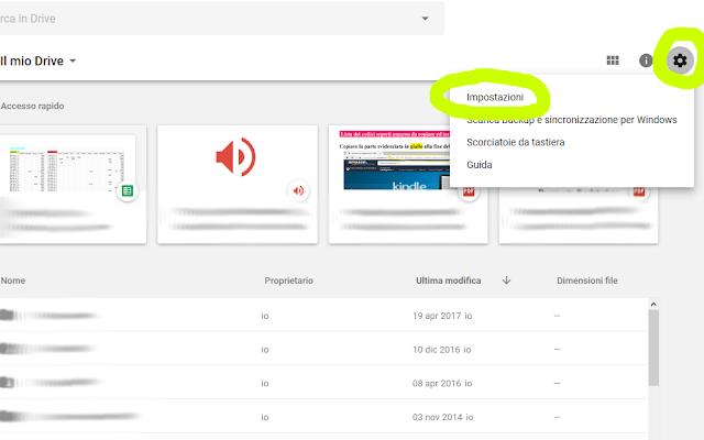 Eliminare accesso rapido Google Drive