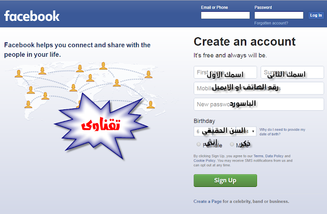 شرح انشاء حساب على فيسبوك