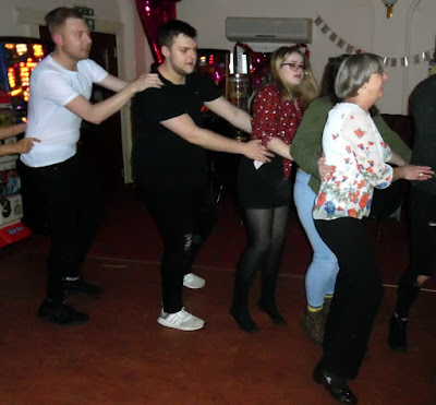 Dancing the conger to see in New Year 2019 at the Exchange Bar in Brigg - see Nigel Fisher's Brigg Blog