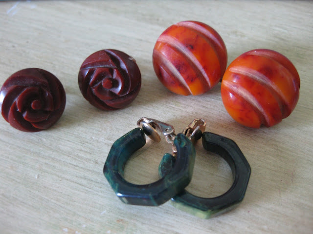carved bakelite earrings from Va-Voom Vintage