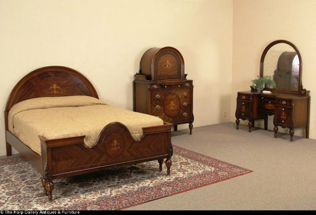 vintage walnut bedroom furniture sets usa