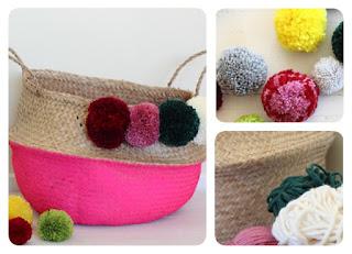 cestos, decoración, adornos con lanas, tutoriales, manualidades