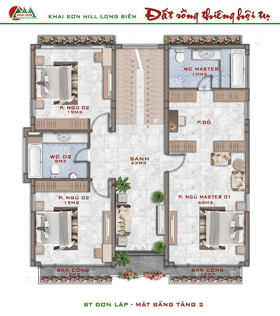 Thiết kế tầng 2 biệt thự đơn lập