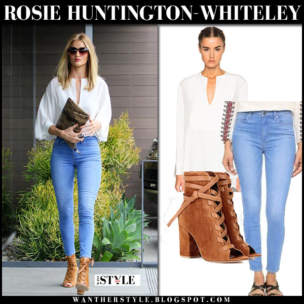 Rosie Huntington-Whiteley in white jenni kayne blouse, skinny paige denim jeans and brown suede ankle boots what she wore streetstyle