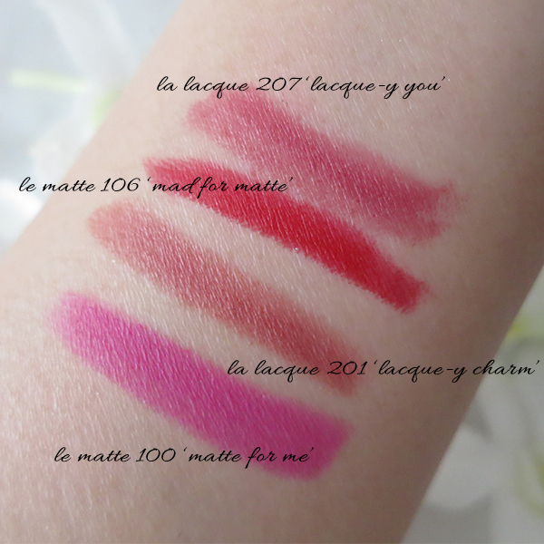 L'Oreal Colour Riche Le Matte & La Lacque Lip Crayons swatches