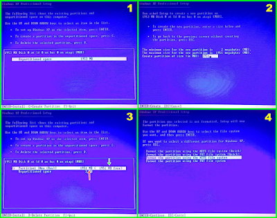 Cara Menghapus dan Membuat Partisi pada Hardisk ketika proses instalasi Windows XP
