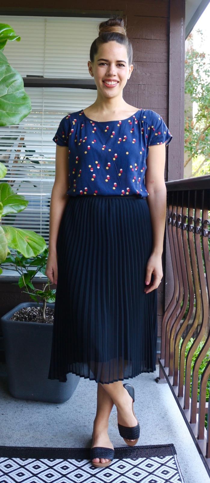 Jules in Flats - Black Pleated Midi Skirt