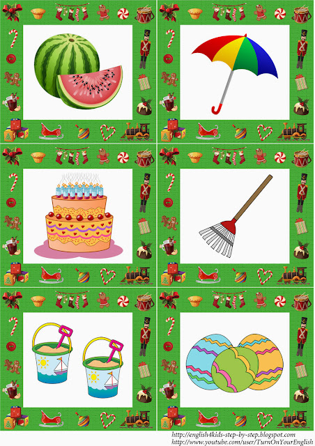 English kindergaten christmas flashcards