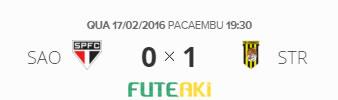 O placar de São Paulo 0x1 The Strongest-BOL pela 1ª rodada da Copa Libertadores da América 2016.