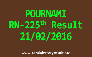POURNAMI RN 225 Lottery Result 21-02-2016
