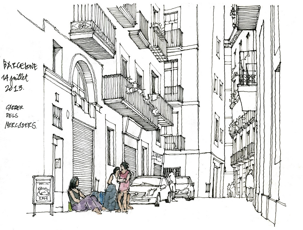 03-Barcelone-Gérard-Michel-Urban-Architectural-Drawings-from-your-Teacher-www-designstack-co