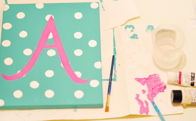 diy gift idea custom painted initial canvas for baby love maegan