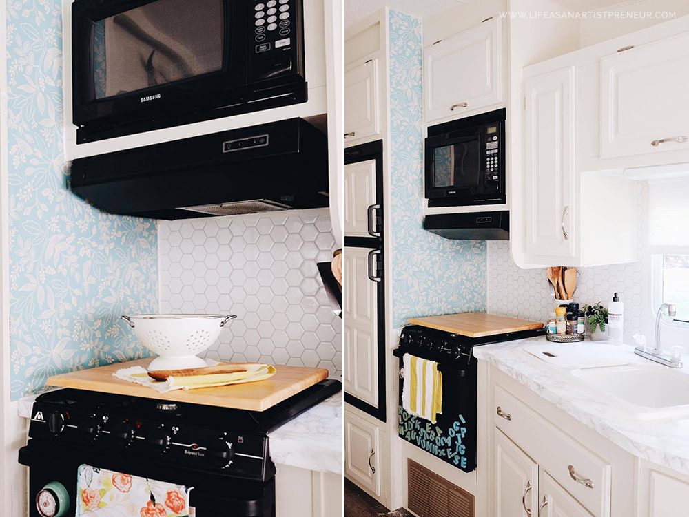 Rv Kitchen Appliances Sink Overflow Our 5th Wheel Renovation Reveal The Glamper Life As An Penny Tile Rifle Paper Co Wallpaper