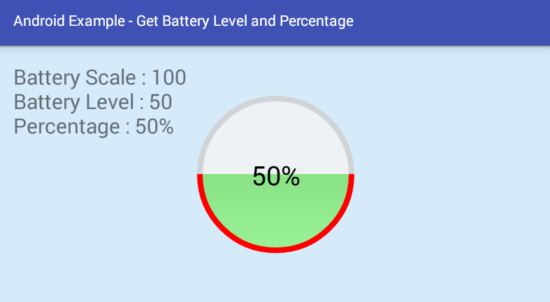 android - Get battery level and percentage programmatically