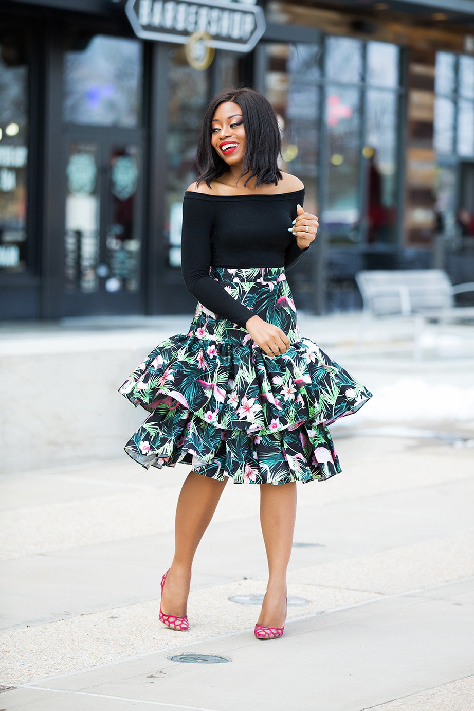 off shoulder top, print high-waist ruffle hem skirt, www.jadore-fashion.com