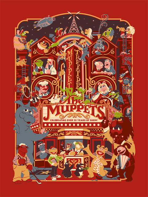 "Dark Ink Art - Red Carpet Variant ""Muppet Theatre"" Screen Print by James V. Carroll"