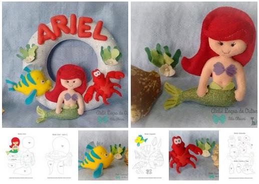 Guirlanda Princesa Ariel Com Molde Para Imprimir Como Fazer