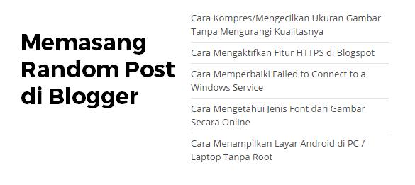cara memasang random post ringan di blog