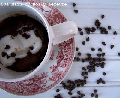 molten marshmallow cake in a mug or cup