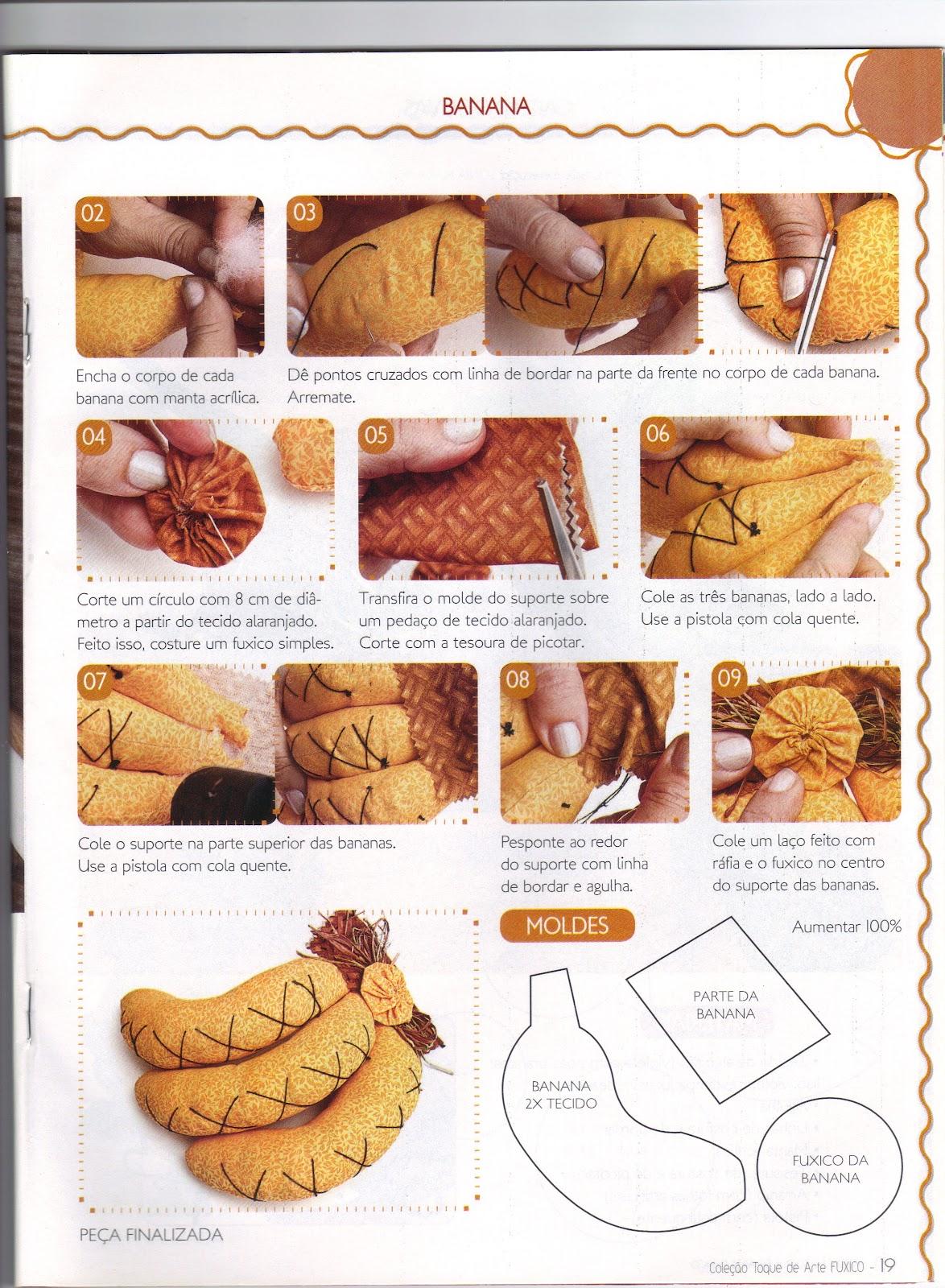 Artesanato Nordeste Feira ~ Moldes Para Artesanato em Tecido Banana de tecido passo a passo com Molde