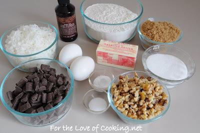 Coconut, Chocolate Chunk, and Walnut Cookies