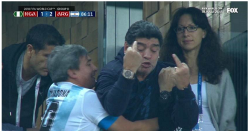 VIDEO: Argentina legend Diego Maradona collapse for drug overdose after giving Nigeria the middle finger