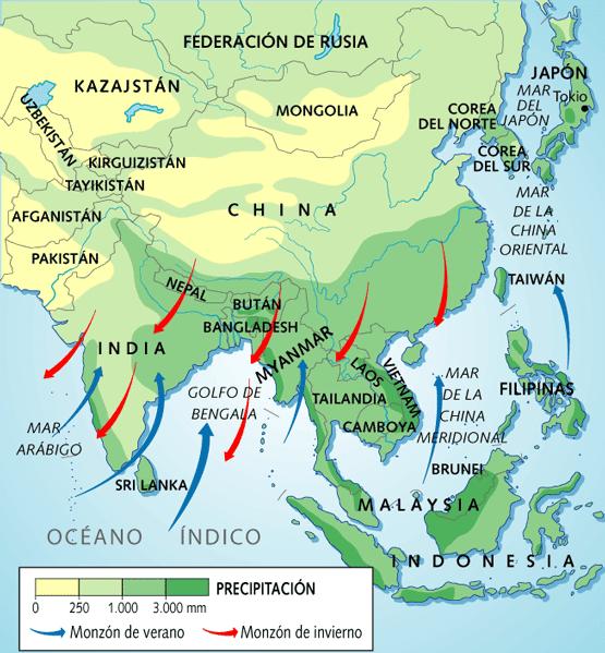 de la india y en el asia oriental japn china es de saber que los continentes se enfran y calientan ms rpido que los ocanos ello origina las