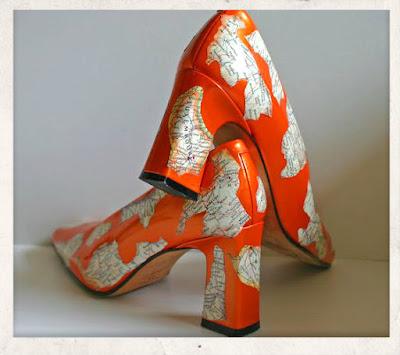 decoupage σε παπουτσια,ντεκουπαζ σε γοβες